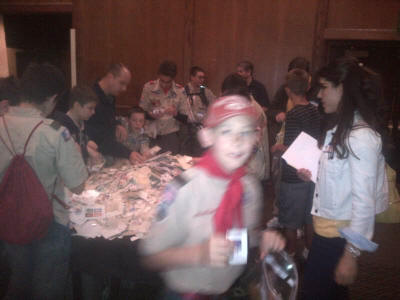 Boy Scouts look for free stamps to complete their Stamp Collecting Merit Badge  requirements